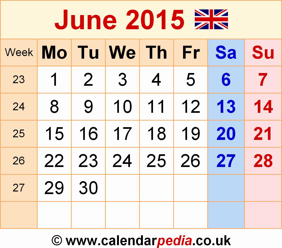 Calendar Template for June 2015 Fresh Calendar June 2015 Uk Bank Holidays Excel Pdf Word Templates