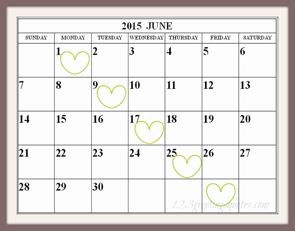 Calendar Template for June 2015 Fresh Free Printable June Calendar Easy Print 2015 2016 2017
