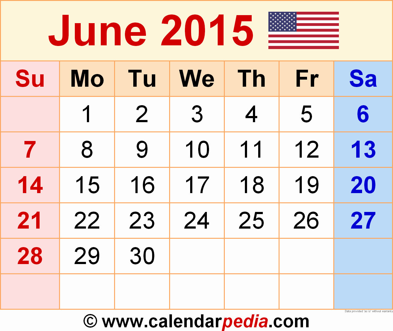 Calendar Template for June 2015 Fresh June 2015 Calendars for Word Excel & Pdf