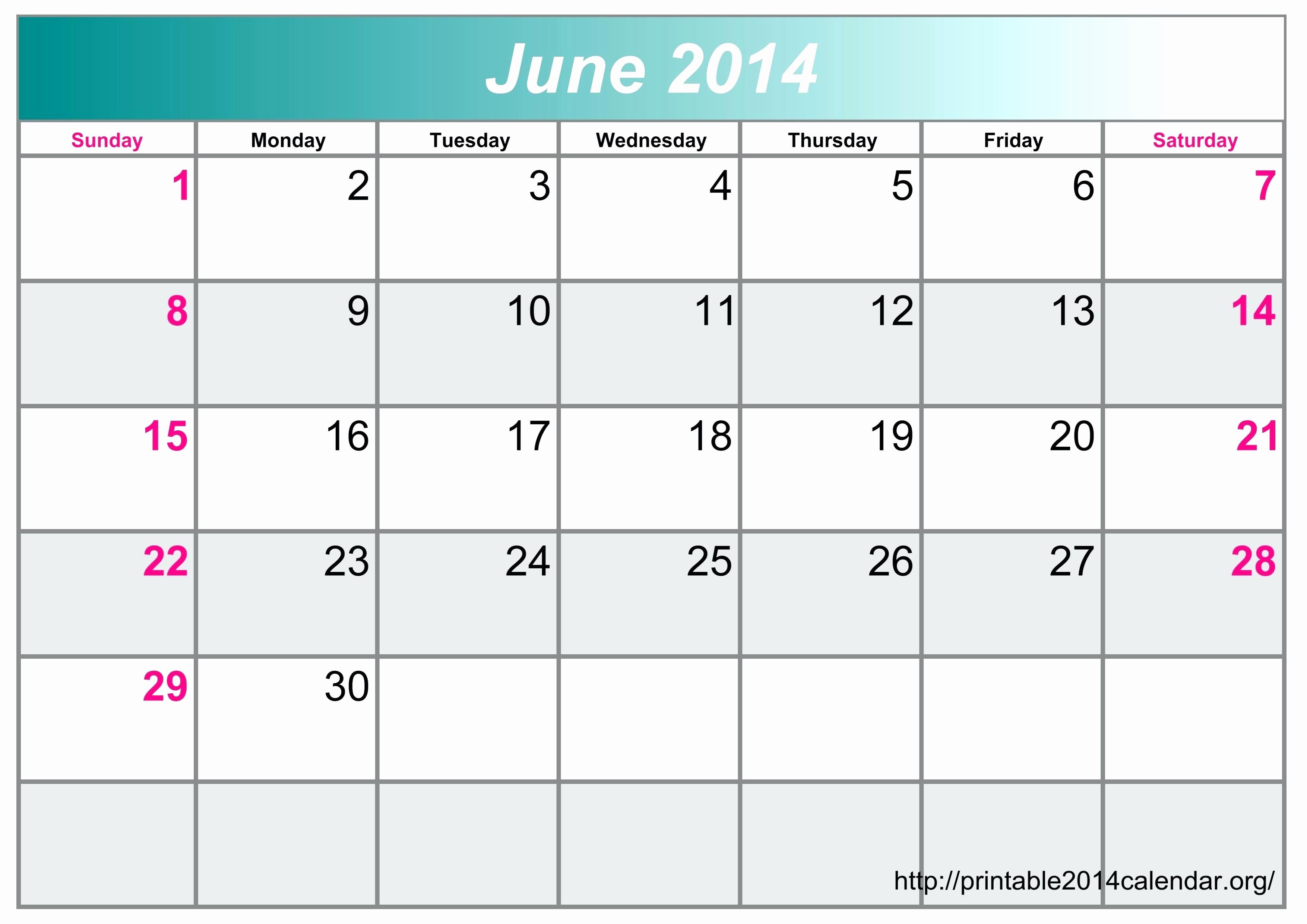 Calendar Template for June 2015 Fresh Template June Calendar Template Printable 2015 Landscape