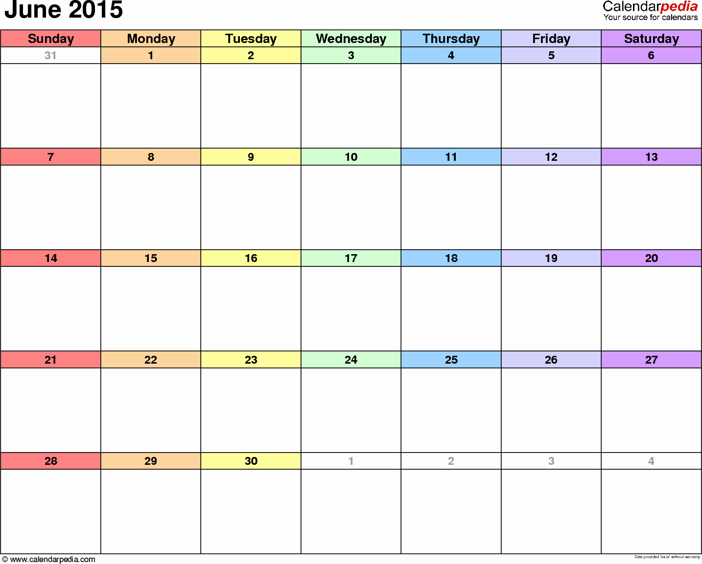 Calendar Template for June 2015 Lovely June 2015 Calendars for Word Excel & Pdf