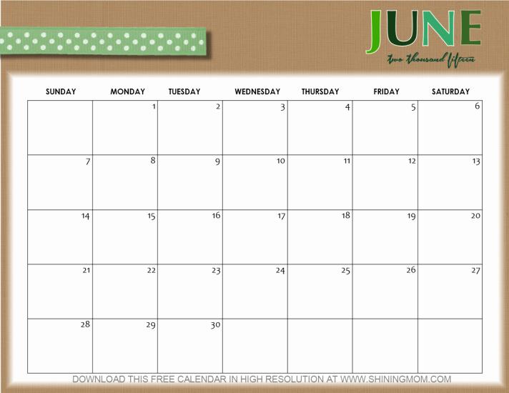 Calendar Template for June 2015 New 10 Pretty Calendars for June 2015