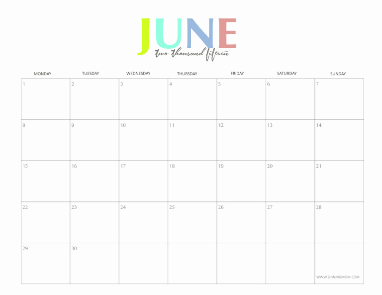 Calendar Template for June 2015 New the Colorful 2015 Monthly Calendars by Shiningmom are