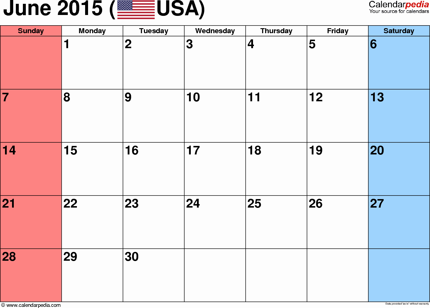 Calendar Template for June 2015 Unique June 2015 Calendars for Word Excel & Pdf
