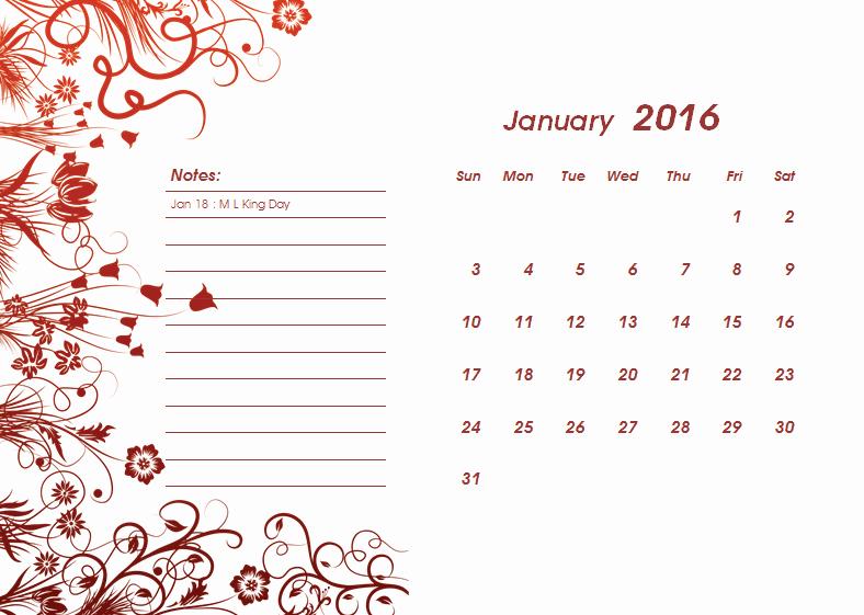 Calendar Template for Ms Word Best Of 2016 Calendar Template Templates for Microsoft Word
