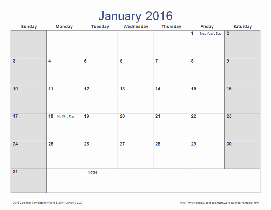 Calendar Template for Ms Word Fresh Word Calendar Template for 2016 2017 and Beyond