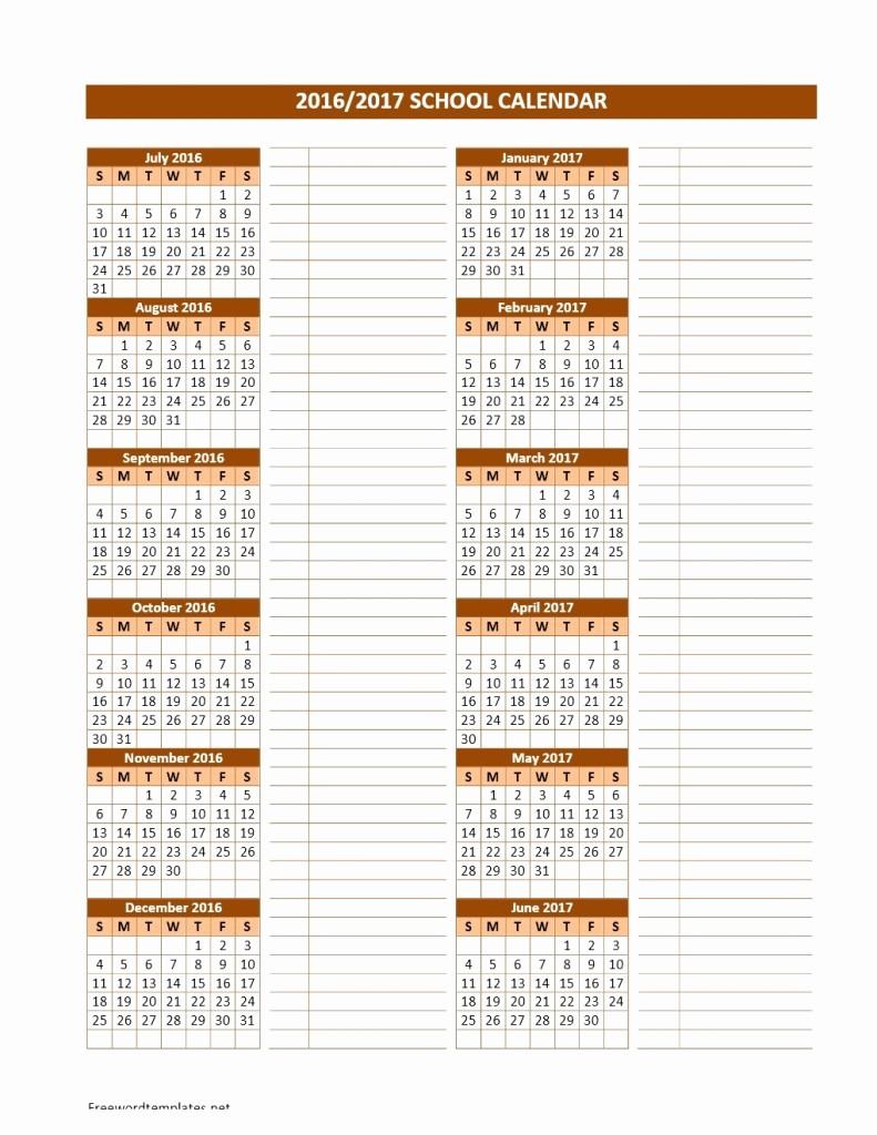 Calendar Template for Ms Word Inspirational 2016 2017 School Calendars