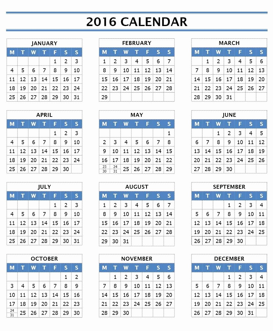 Calendar Template for Ms Word Lovely 2016 Calendar Templates