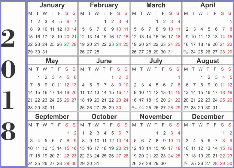 Calendar Template for Ms Word Unique 2018 Calendar Word Printable Template