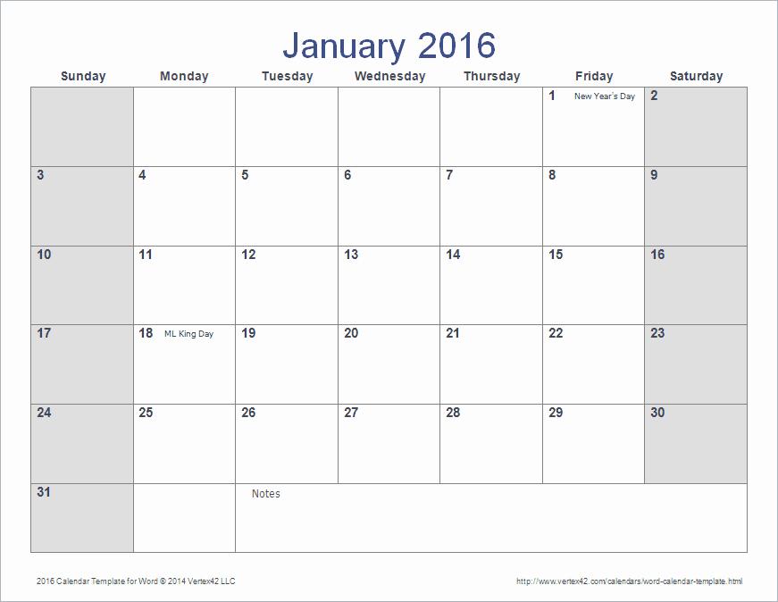 Calendar Templates for Microsoft Word Elegant Word Calendar Template for 2016 2017 and Beyond