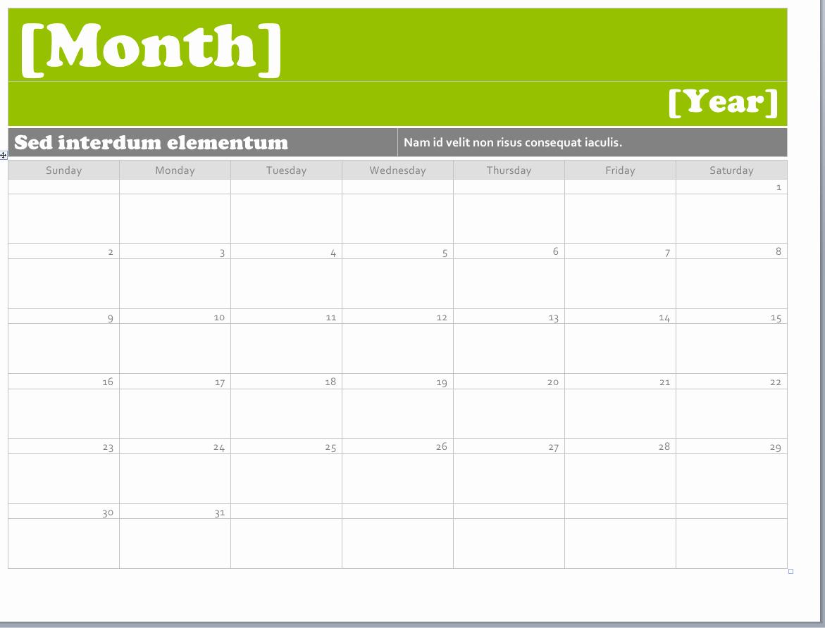Calendar Templates for Microsoft Word Unique Ms Word Calendar Templates Montly Calendar