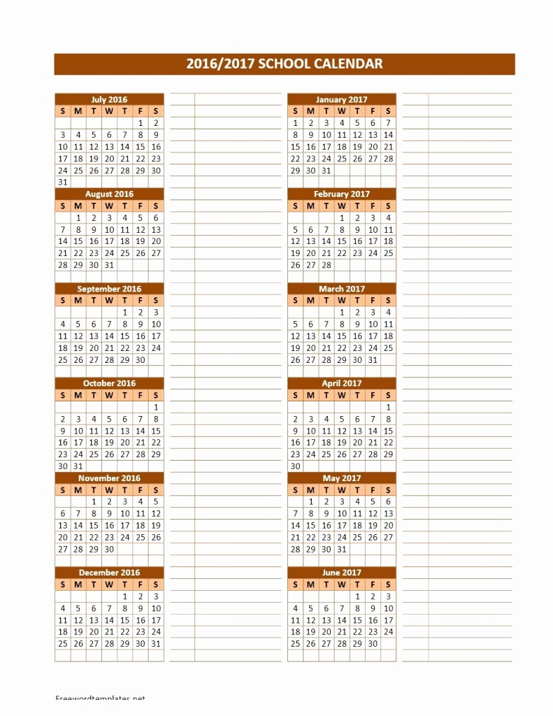 Calendar Templates for Ms Word New 2016 2017 School Calendars