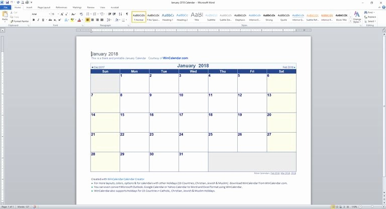 Calendar Templates for Ms Word New 89 Free Calendar Templates for 2018 and Beyond