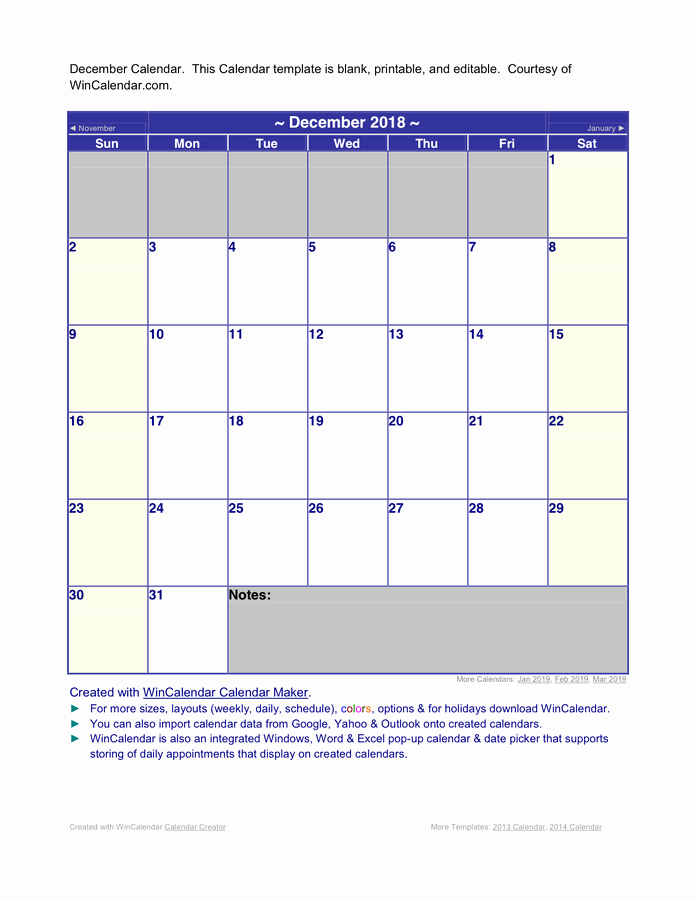 Calendar Templates for Ms Word Unique December 2018 Word Calendar In Word and Pdf formats