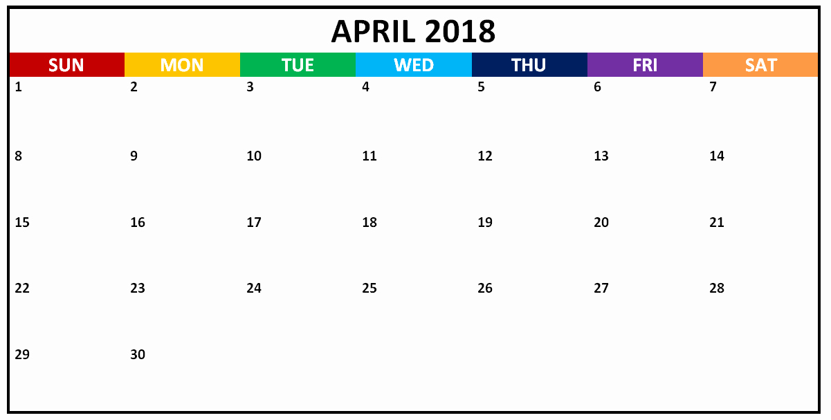 Calendar that I Can Edit Best Of April 2018 Editable Calendar to Edit and Print