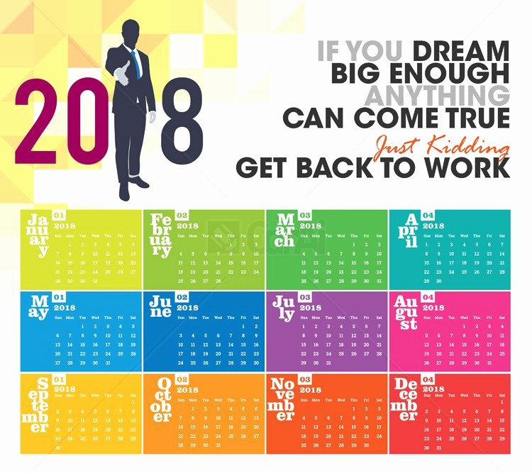 Calendar that I Can Edit Elegant Colorful 2018 Calendar Easy to Edit Vector Cdr Ai Eps