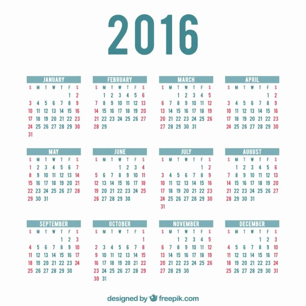 Calendar that I Can Edit Fresh 2016 Calendar Template Vector