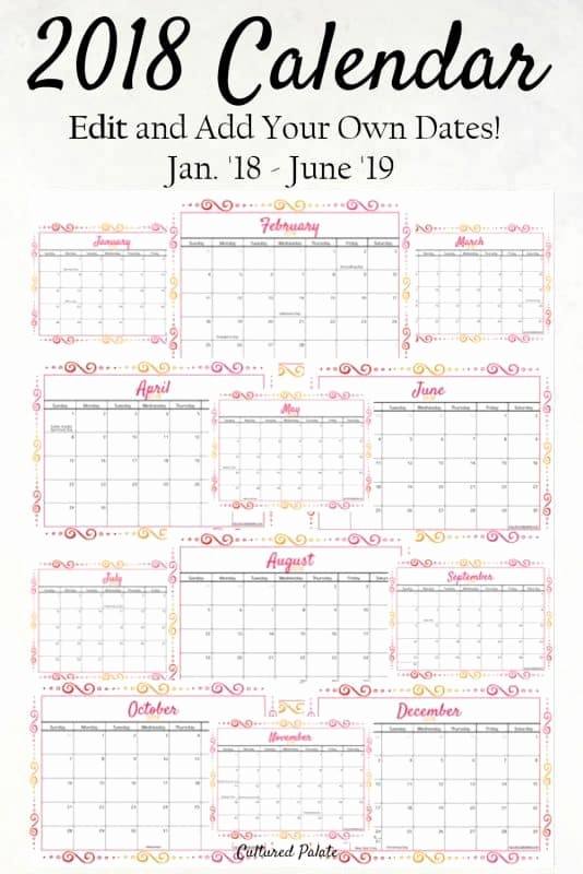 Calendar that I Can Edit Lovely 2018 Calendar 18 Months for You to Edit