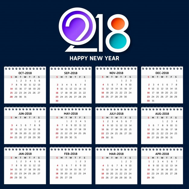 Calendar that I Can Edit Lovely Modern Calendar Template for 2018 Vector