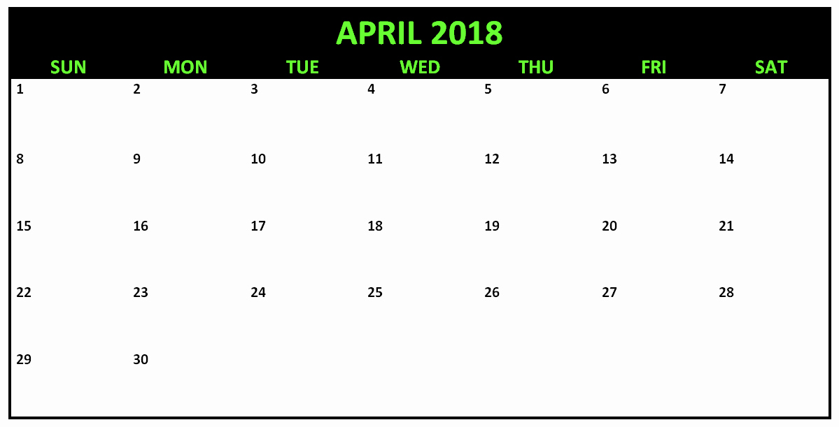 Calendar that I Can Edit Luxury April 2018 Editable Calendar to Edit and Print