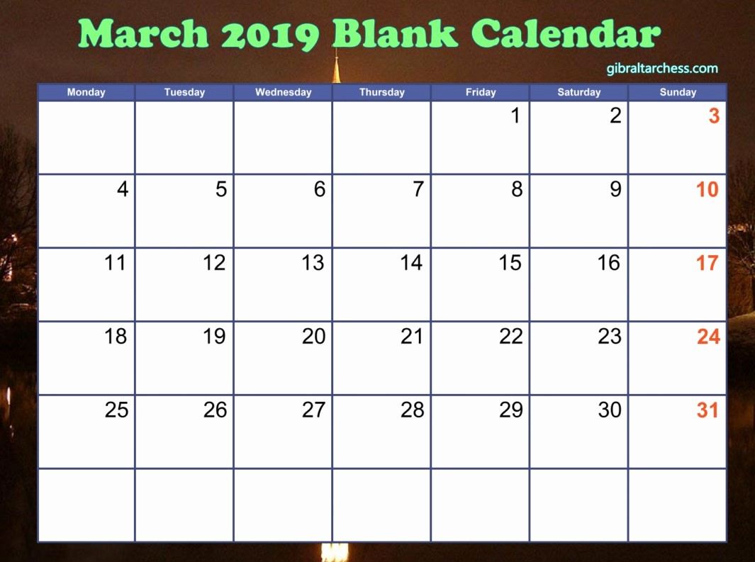Calendar that I Can Edit New March 2019 Blank Calendar Template