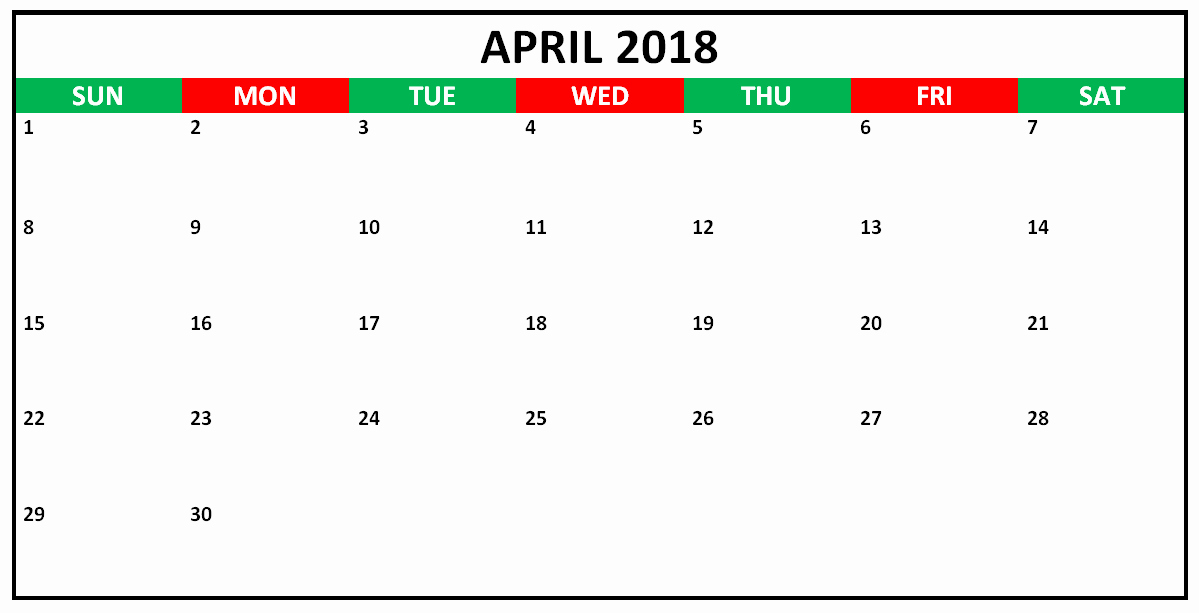 Calendar that I Can Edit Unique April 2018 Editable Calendar to Edit and Print