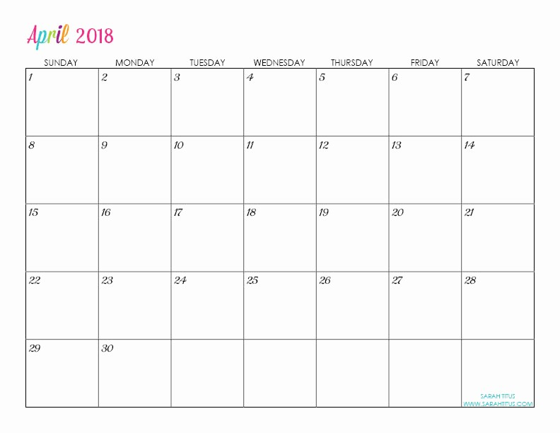 Calendar that I Can Edit Unique Custom Editable Free Printable 2018 Calendars Sarah Titus
