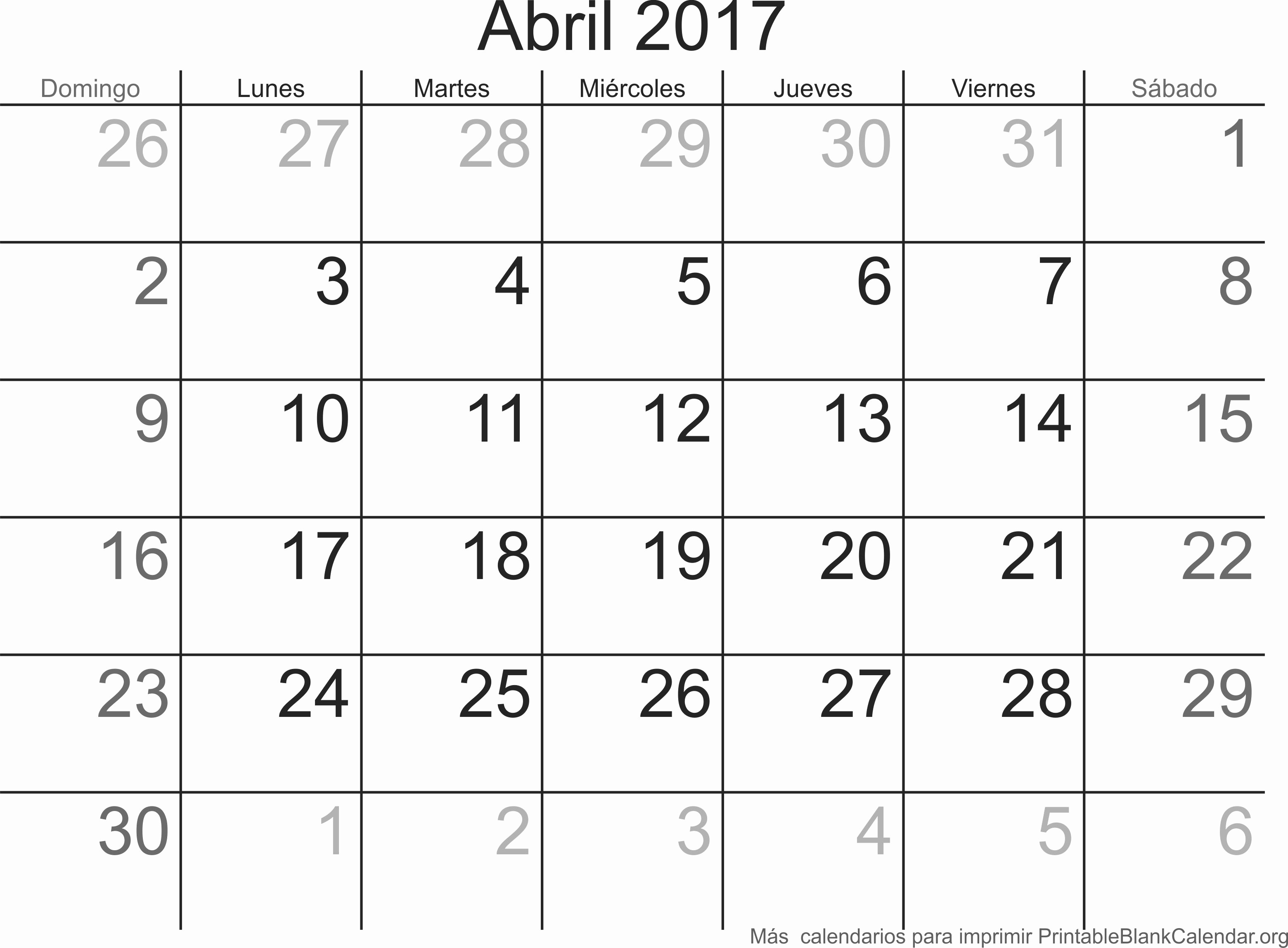 Calendario Anual 2017 Para Imprimir Awesome Abril 2017 Calendario Para Imprimir Calendarios Para