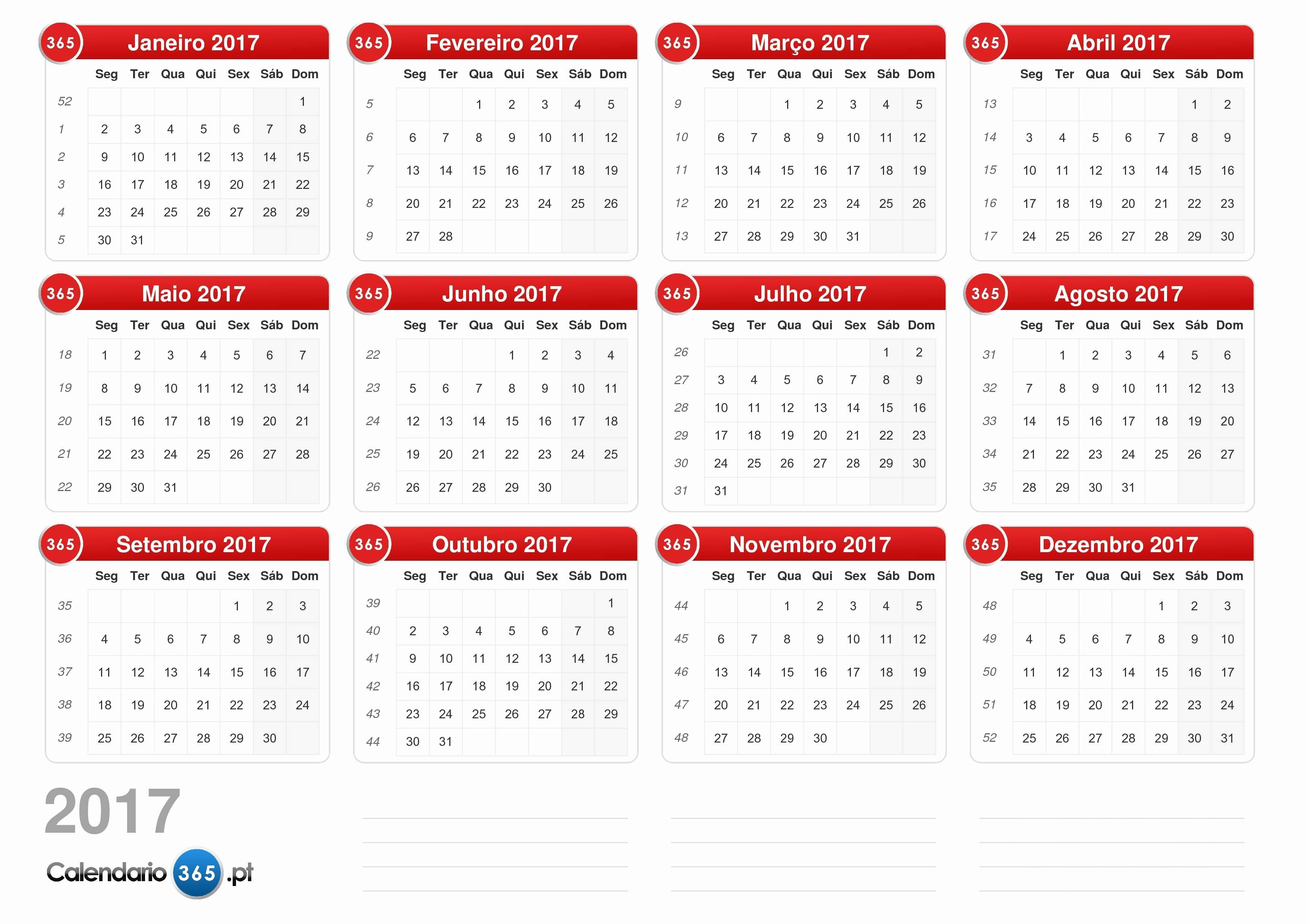 Calendario Anual 2017 Para Imprimir Awesome Calendário 2017