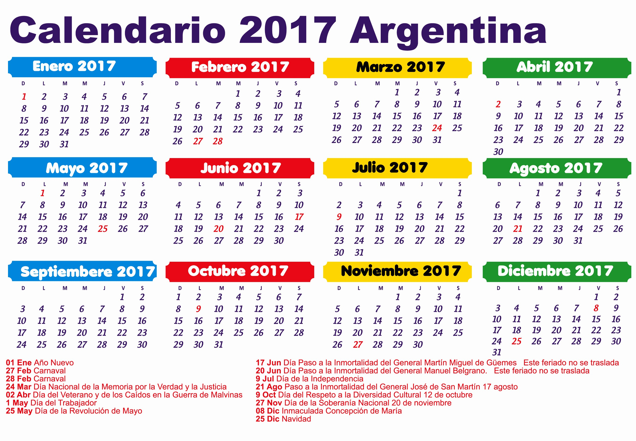 Calendario Anual 2017 Para Imprimir Awesome Calendario Anual 2017