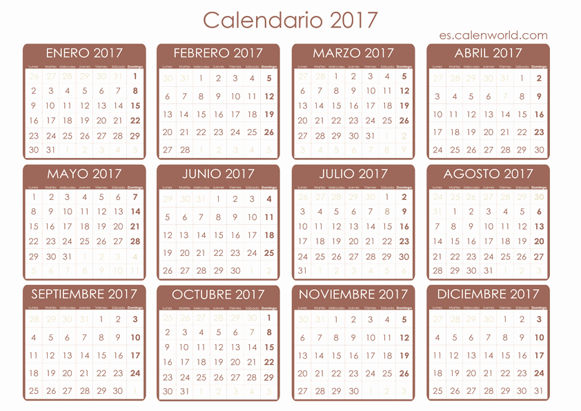 Calendario Anual 2017 Para Imprimir Beautiful Calendario 2017 Para Imprimir