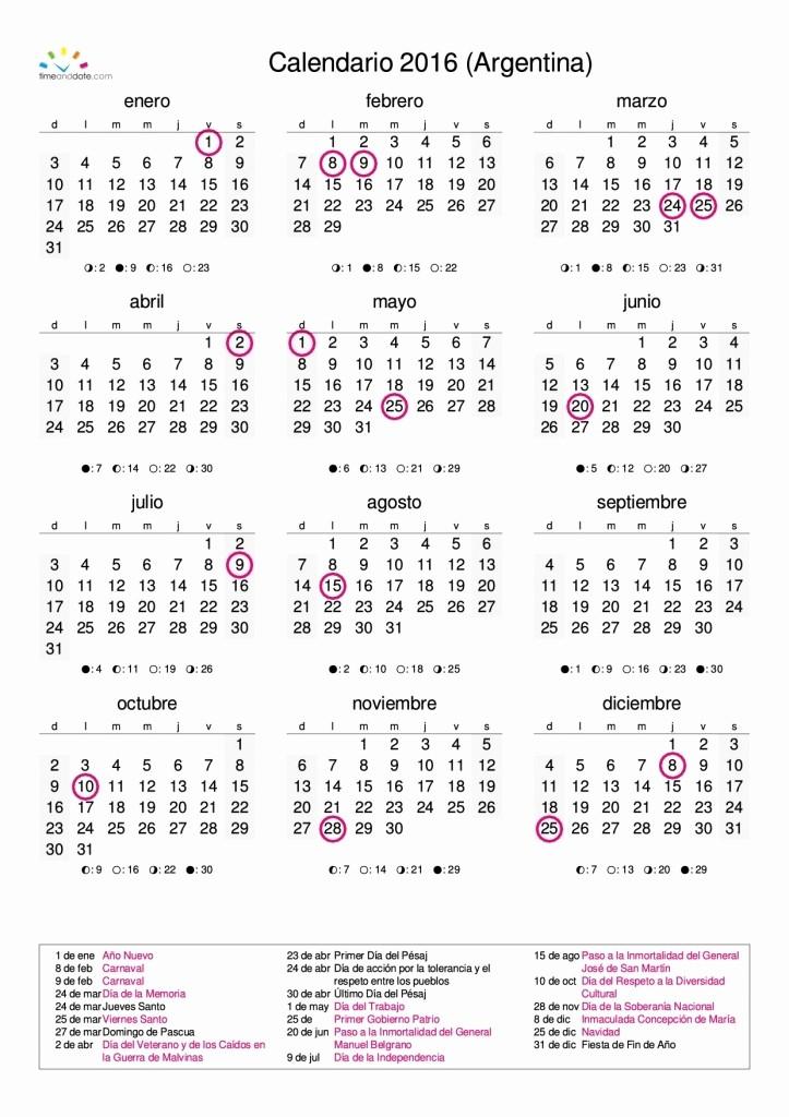 Calendario Anual 2017 Para Imprimir Best Of Calendario Anual 2016 Argentina Para Imprimir