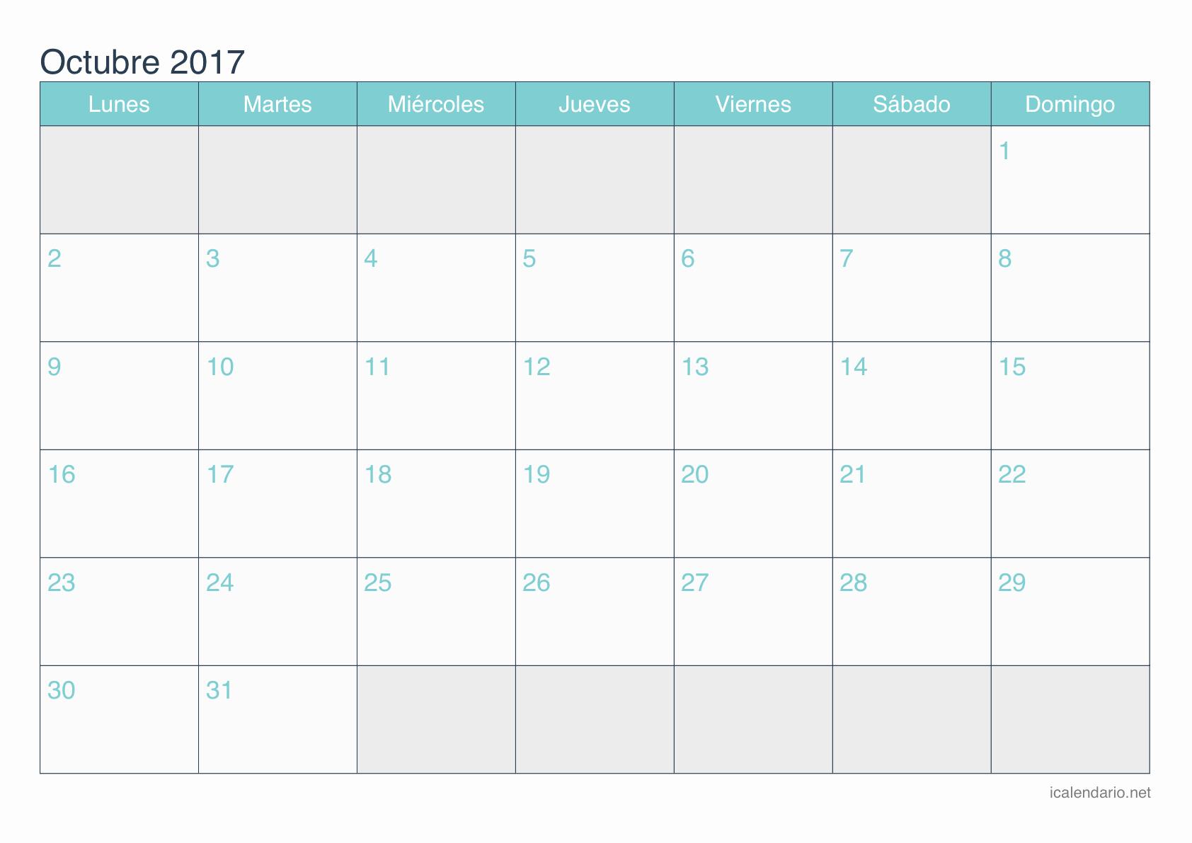 Calendario Anual 2017 Para Imprimir Best Of Calendario Octubre 2017 Para Imprimir Icalendario