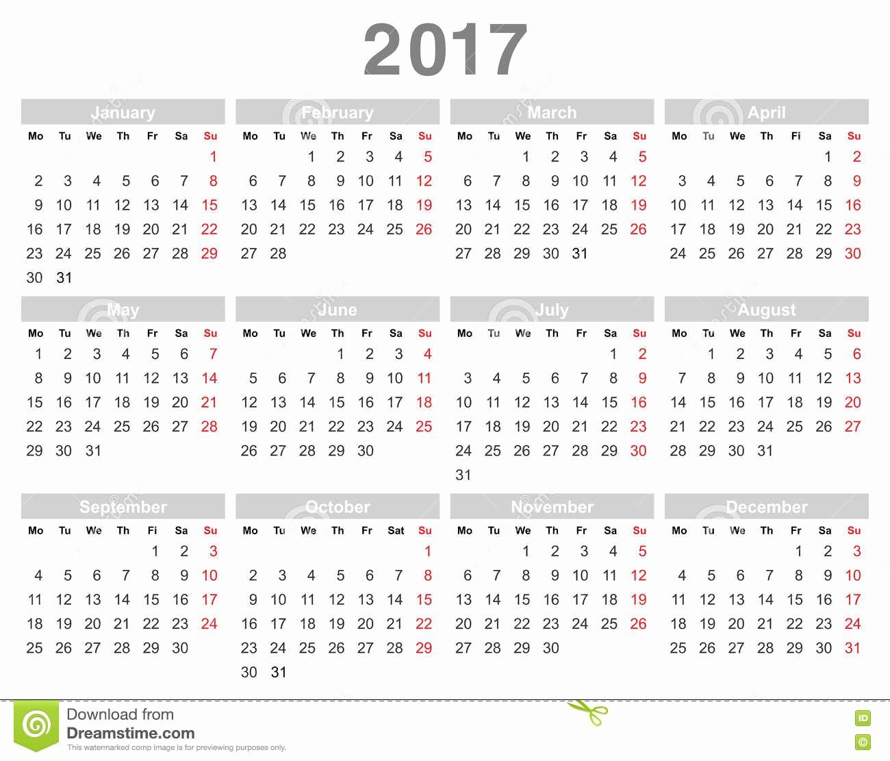 Calendario Anual 2017 Para Imprimir Elegant Calendario Anual Lunes De 2017 Años Primero Inglés