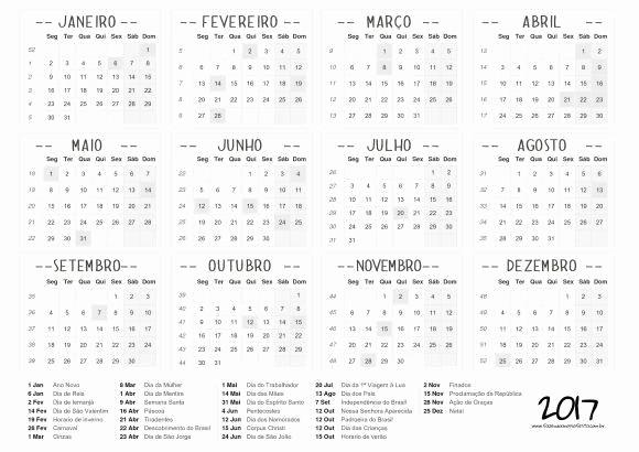 Calendario Anual 2017 Para Imprimir Fresh Calendário 2017 Feriados Para Baixar E Imprimir