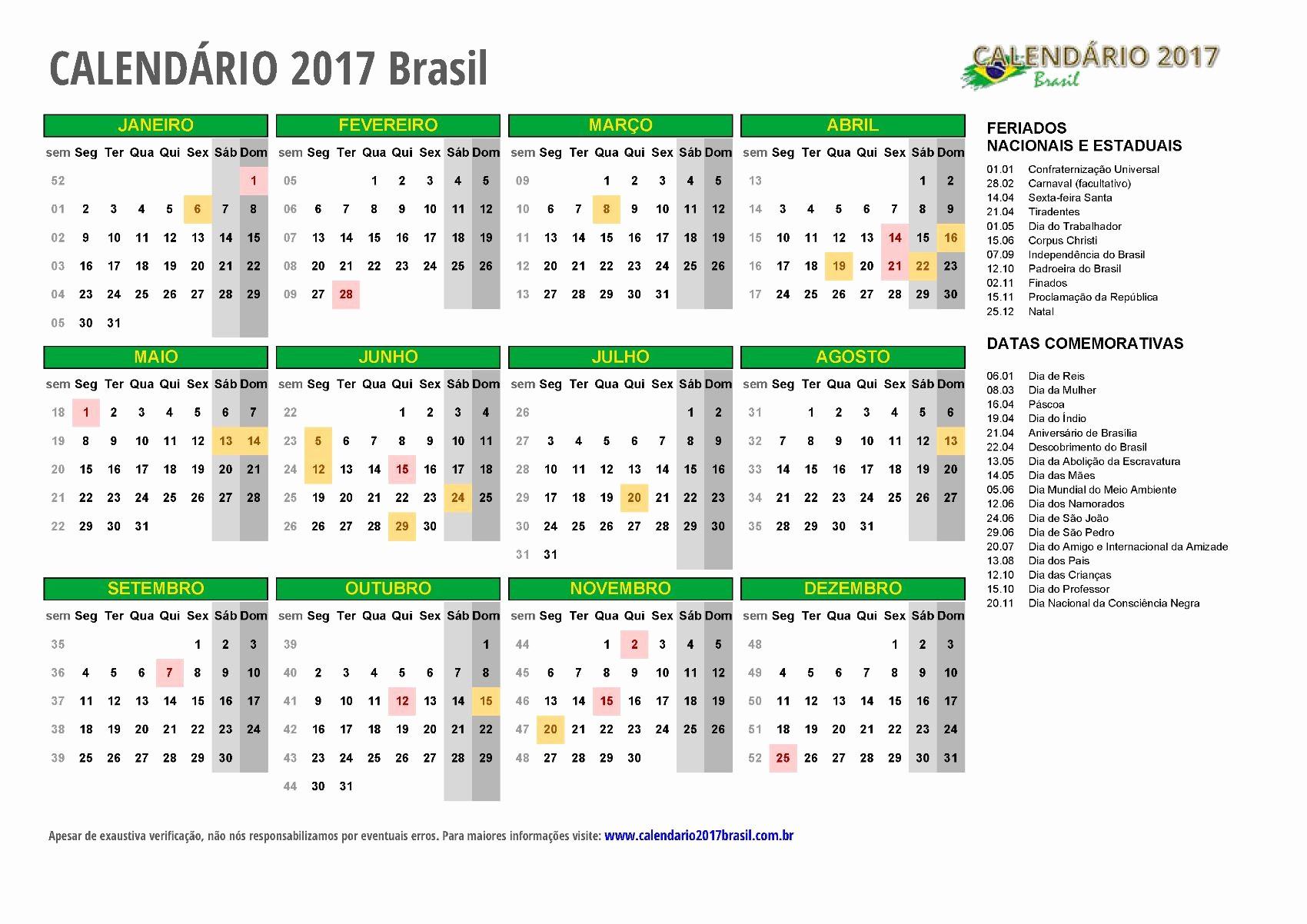 Calendario Anual 2017 Para Imprimir Fresh CalendÁrio 2017 Para Imprimir Feriados
