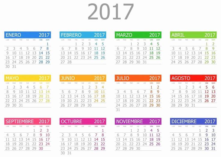 Calendario Anual 2017 Para Imprimir Fresh Calendario Anual 2017