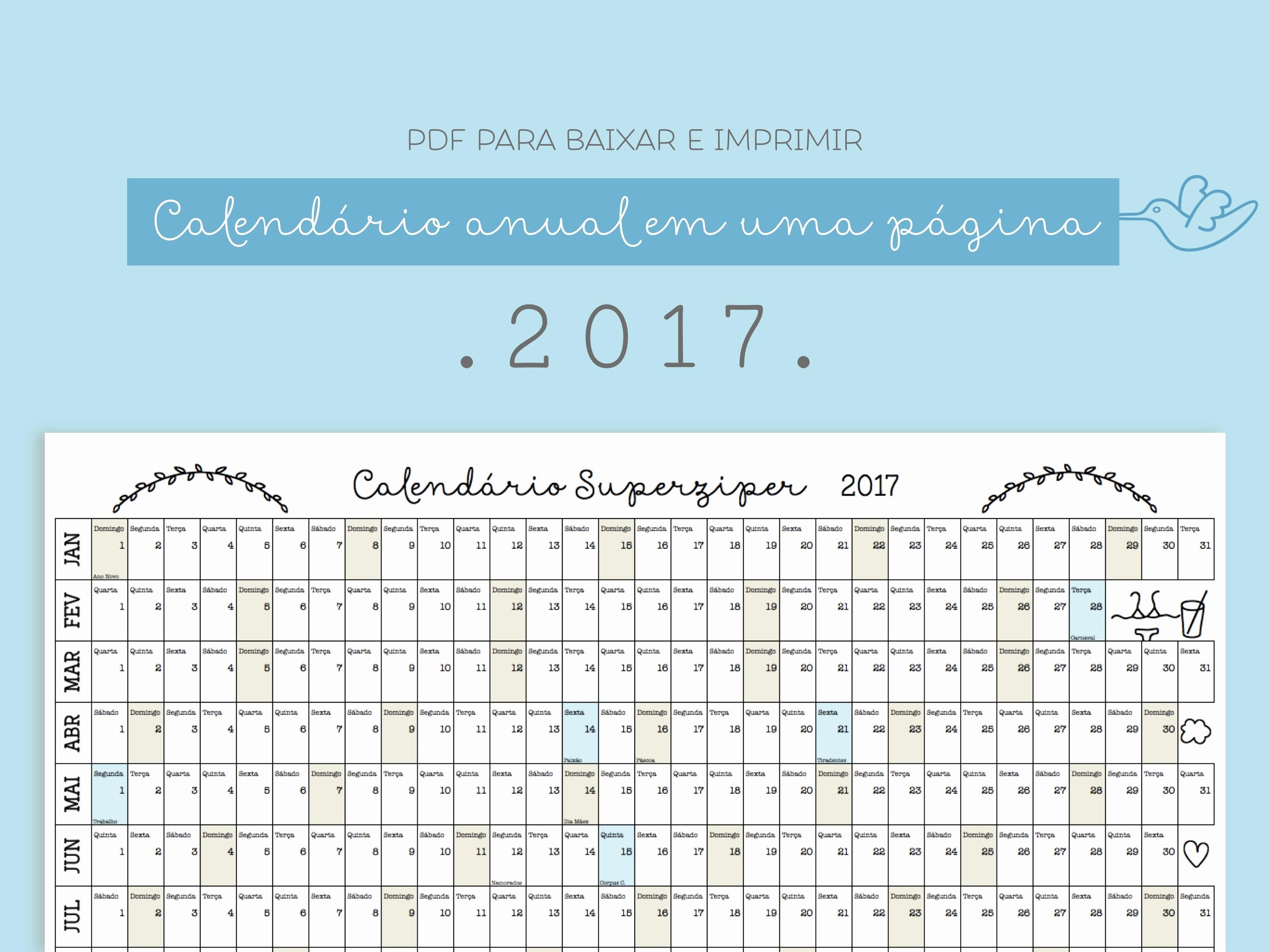 Calendario Anual 2017 Para Imprimir Inspirational Calendário 2017 Para Imprimir