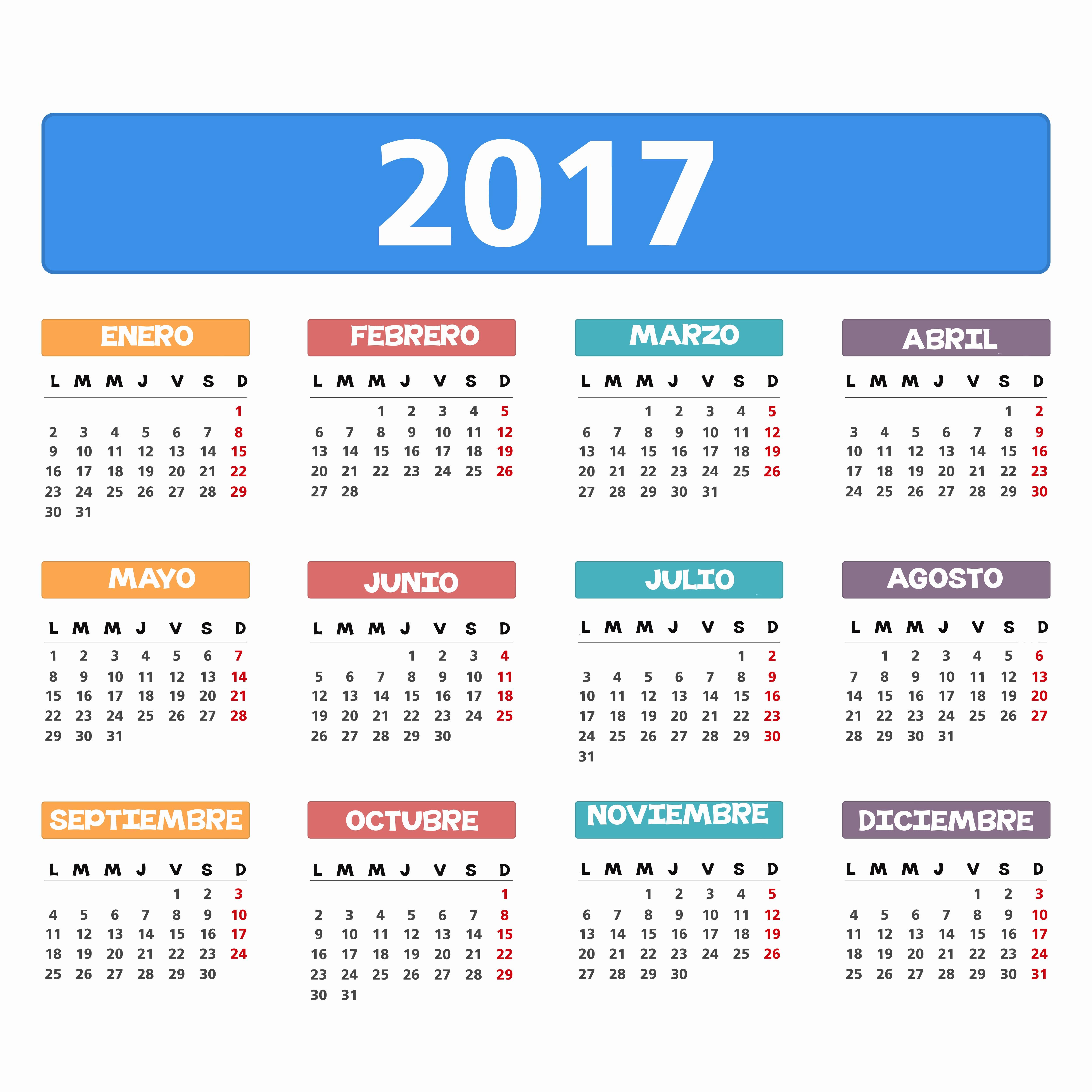 Calendario Anual 2017 Para Imprimir Lovely Calendario 2017 Para Imprimir