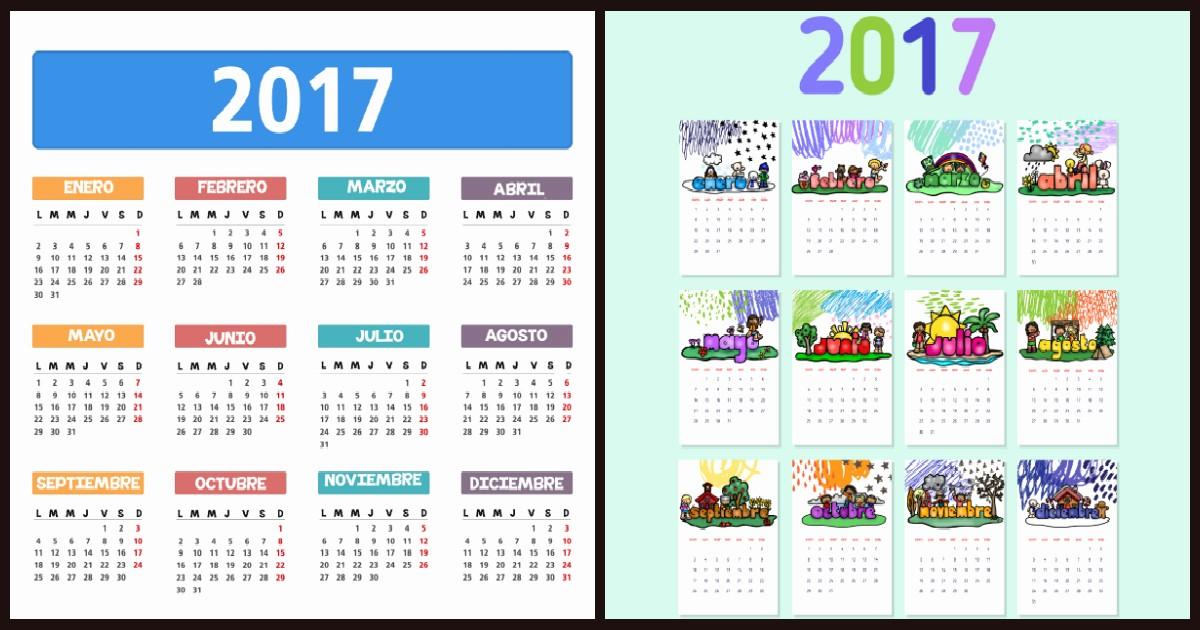Calendario Anual 2017 Para Imprimir Lovely Calendarios Y Planificadores 2017