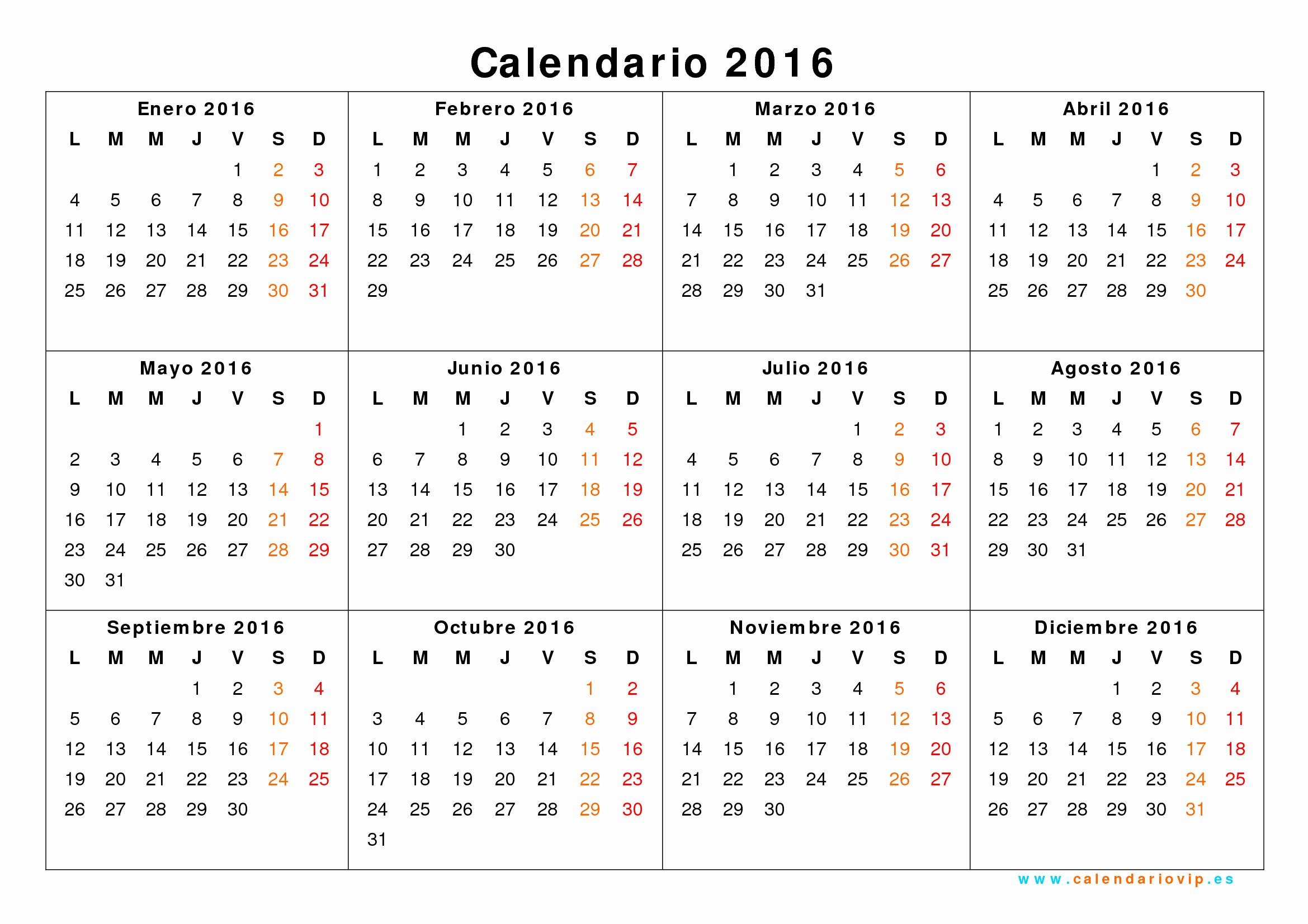 Calendario Anual 2017 Para Imprimir Unique Calendario 2016 Para Imprimir Gratis