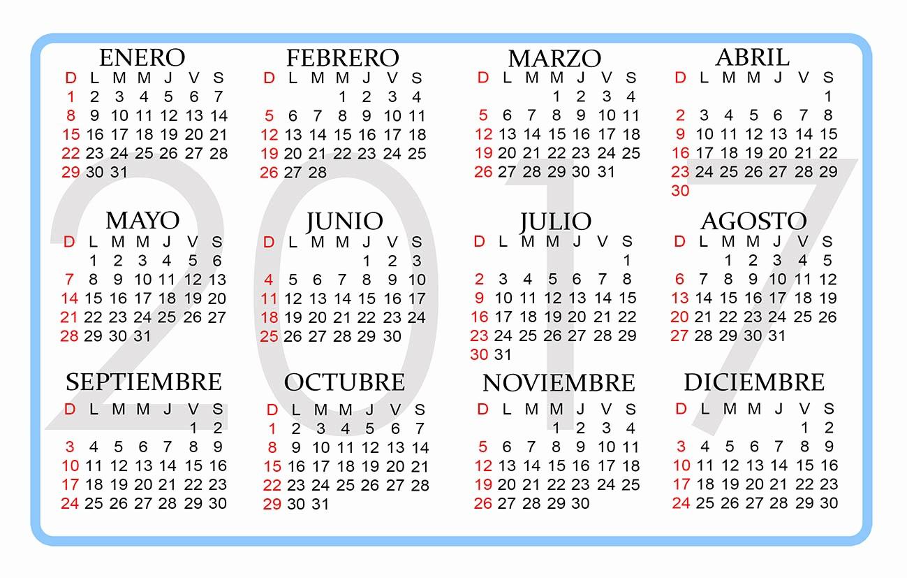 Calendario Anual 2017 Para Imprimir Unique Calendario 2017 Para Imprimir 4