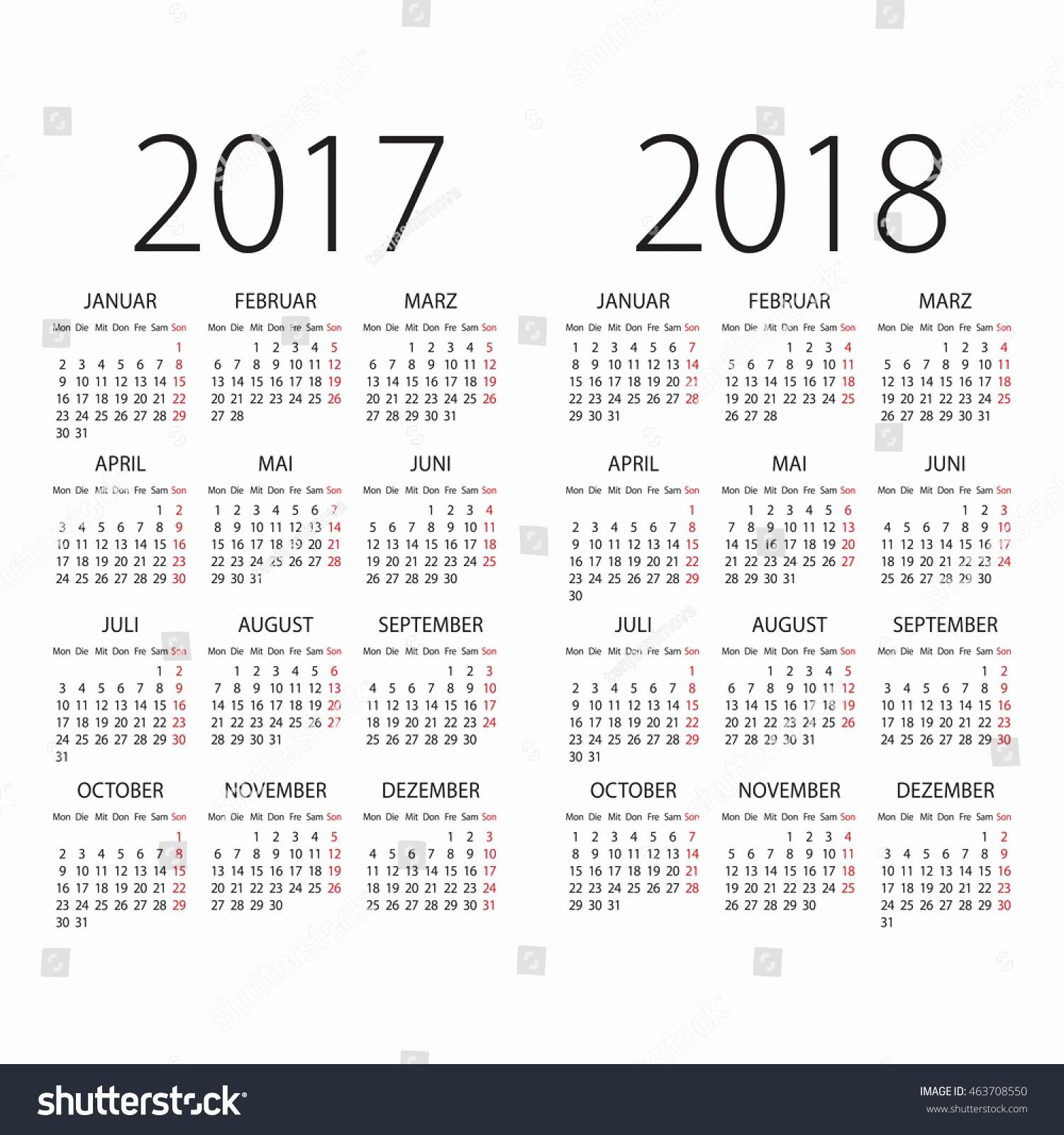 Calendario Diciembre 2017 Para Imprimir Beautiful 2017 2018 Years German Vector Calendar Stock Vector