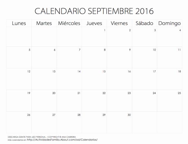 Calendario Diciembre 2017 Para Imprimir Best Of Calendario Septiembre 2016