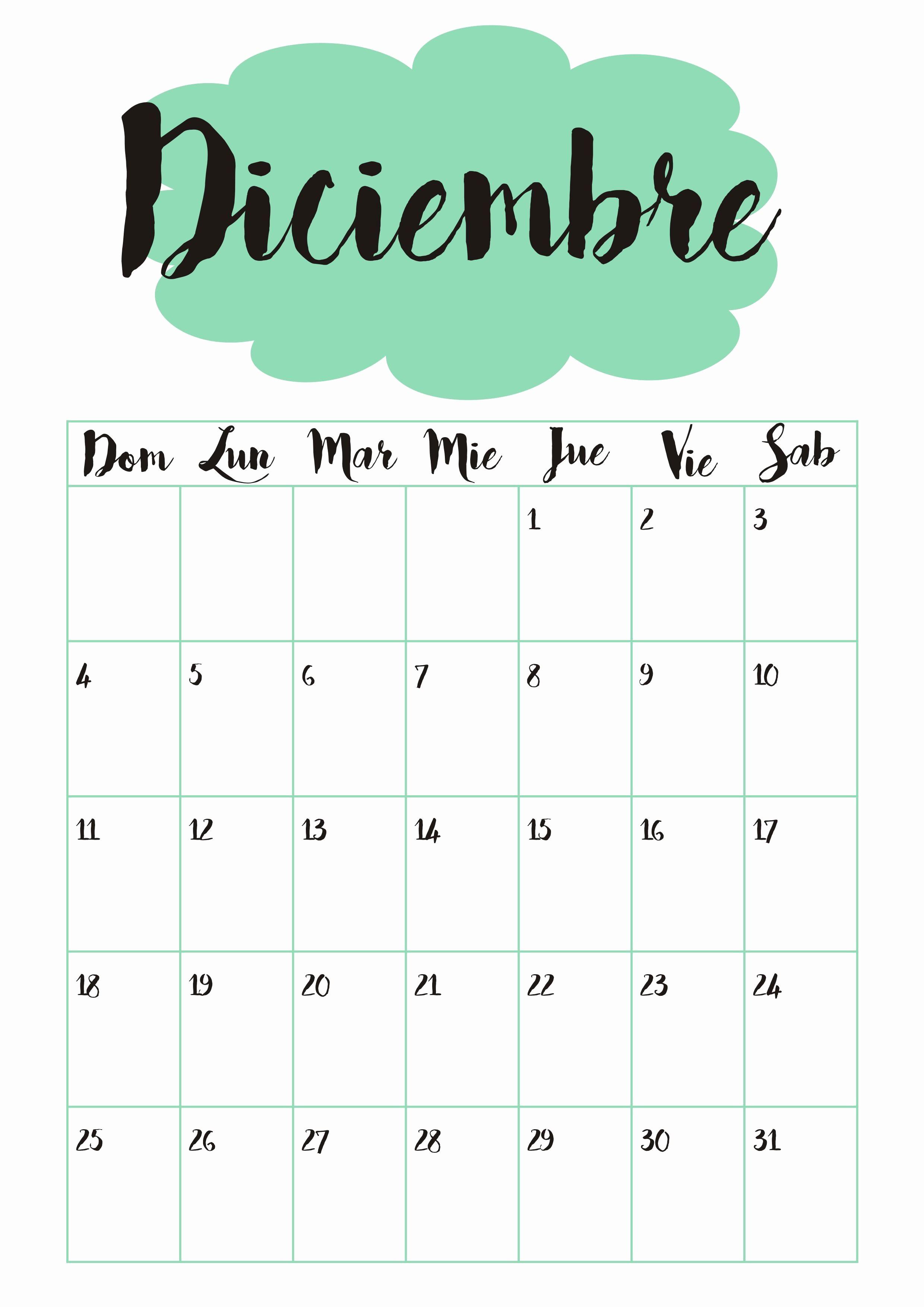 Calendario Diciembre 2017 Para Imprimir Fresh Calendario 12 Diciembre ☼ Calendario 2016 ☺