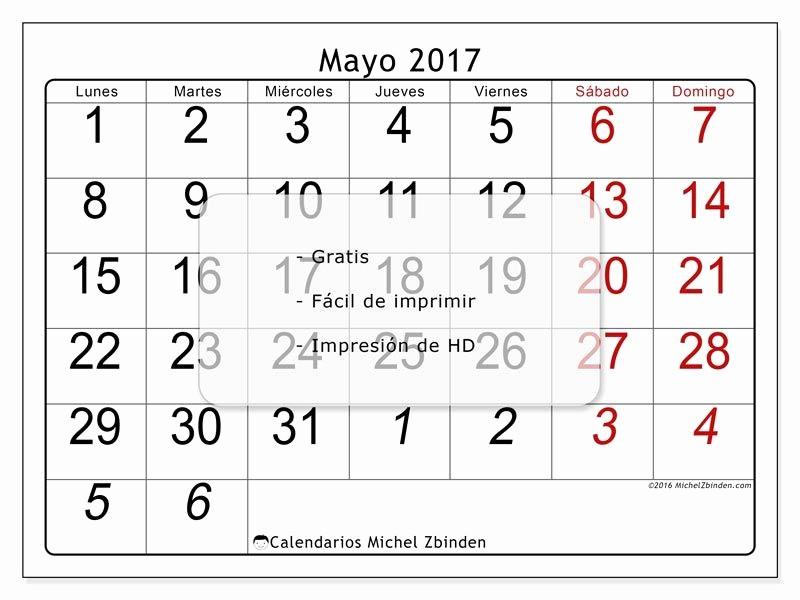 """Calendario Diciembre 2017 Para Imprimir Inspirational Calendario """"oseus L """" Mayo 2017 Para Imprimir"""