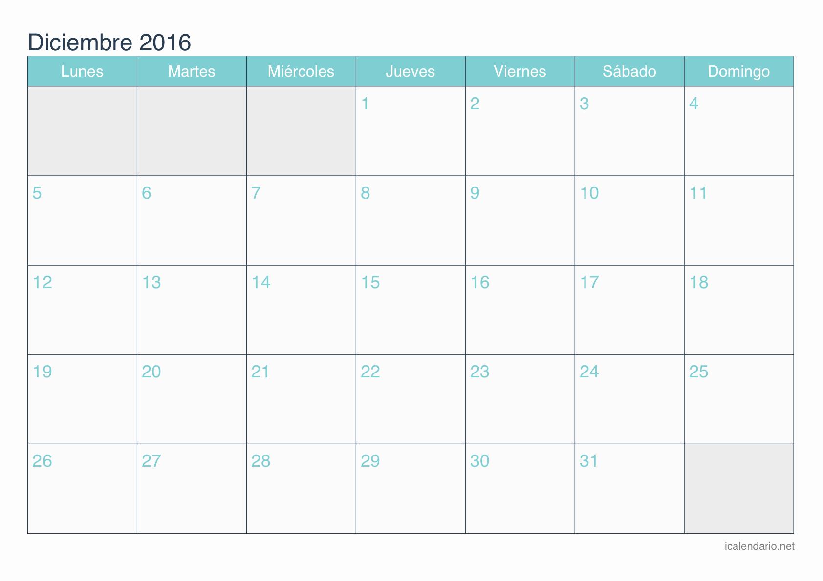 Calendario Diciembre 2017 Para Imprimir Lovely Calendario Diciembre 2016 Para Imprimir Icalendario