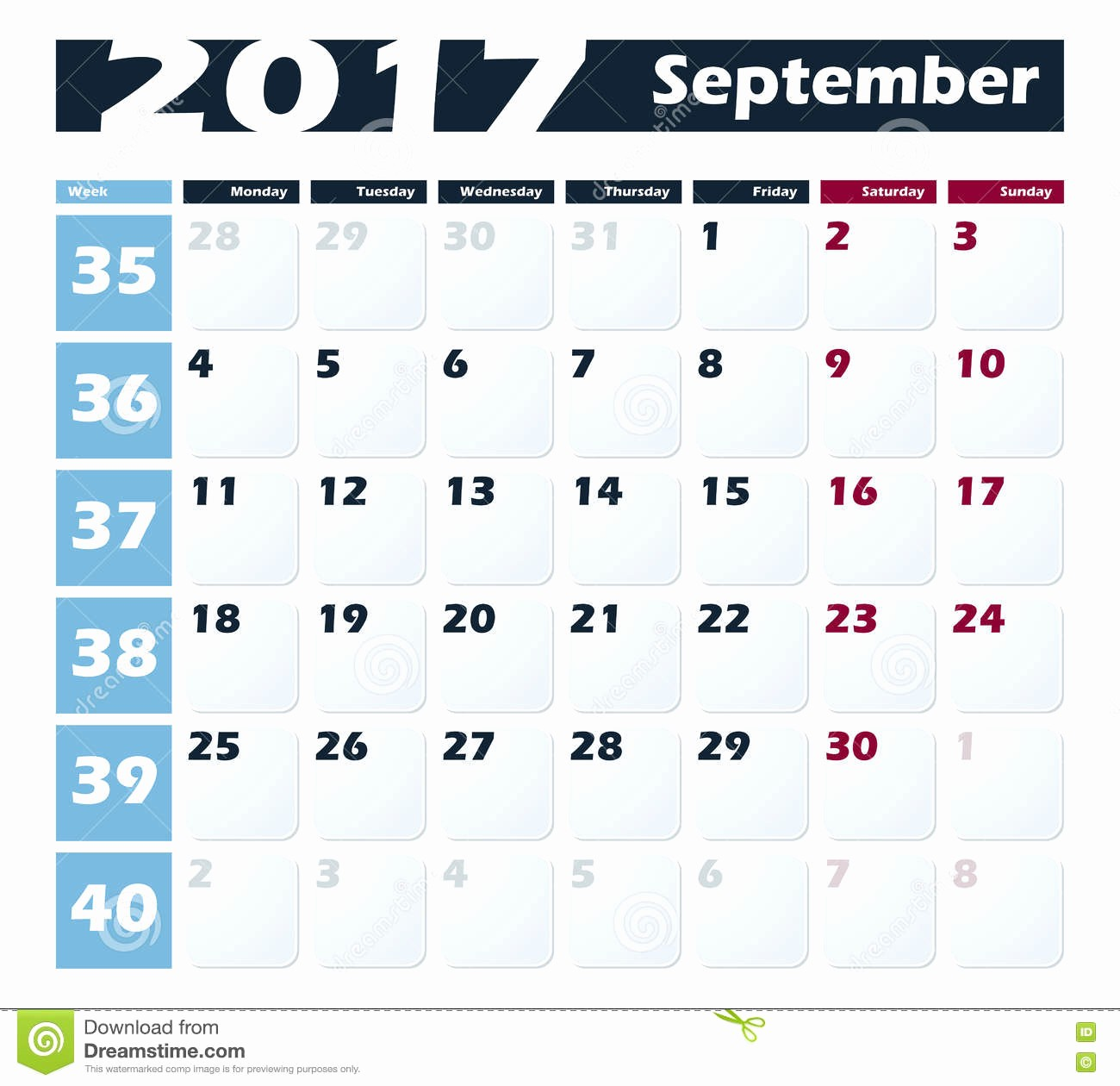 Calendario Diciembre 2017 Para Imprimir Luxury Calendar 2017 September Vector Design Template Week