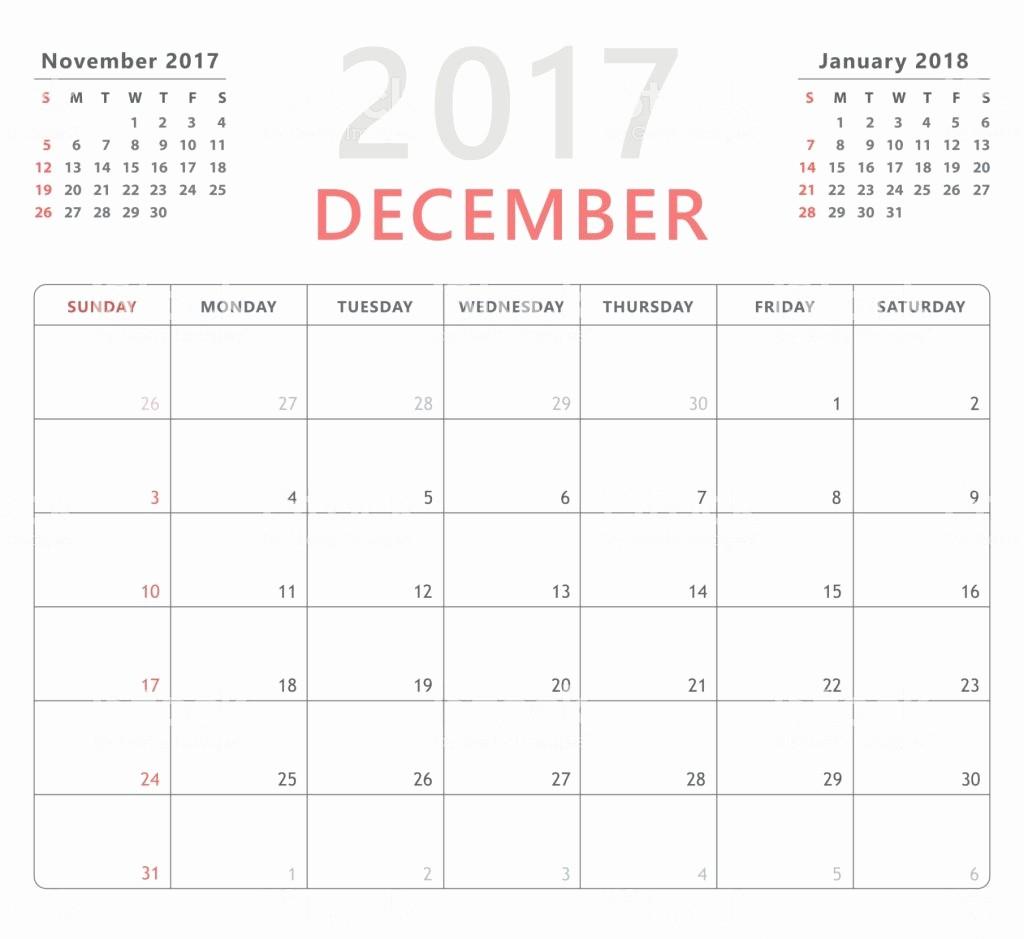 Calendario Diciembre 2017 Para Imprimir New Calendar Planner 2017 December Week Starts Sunday Vector