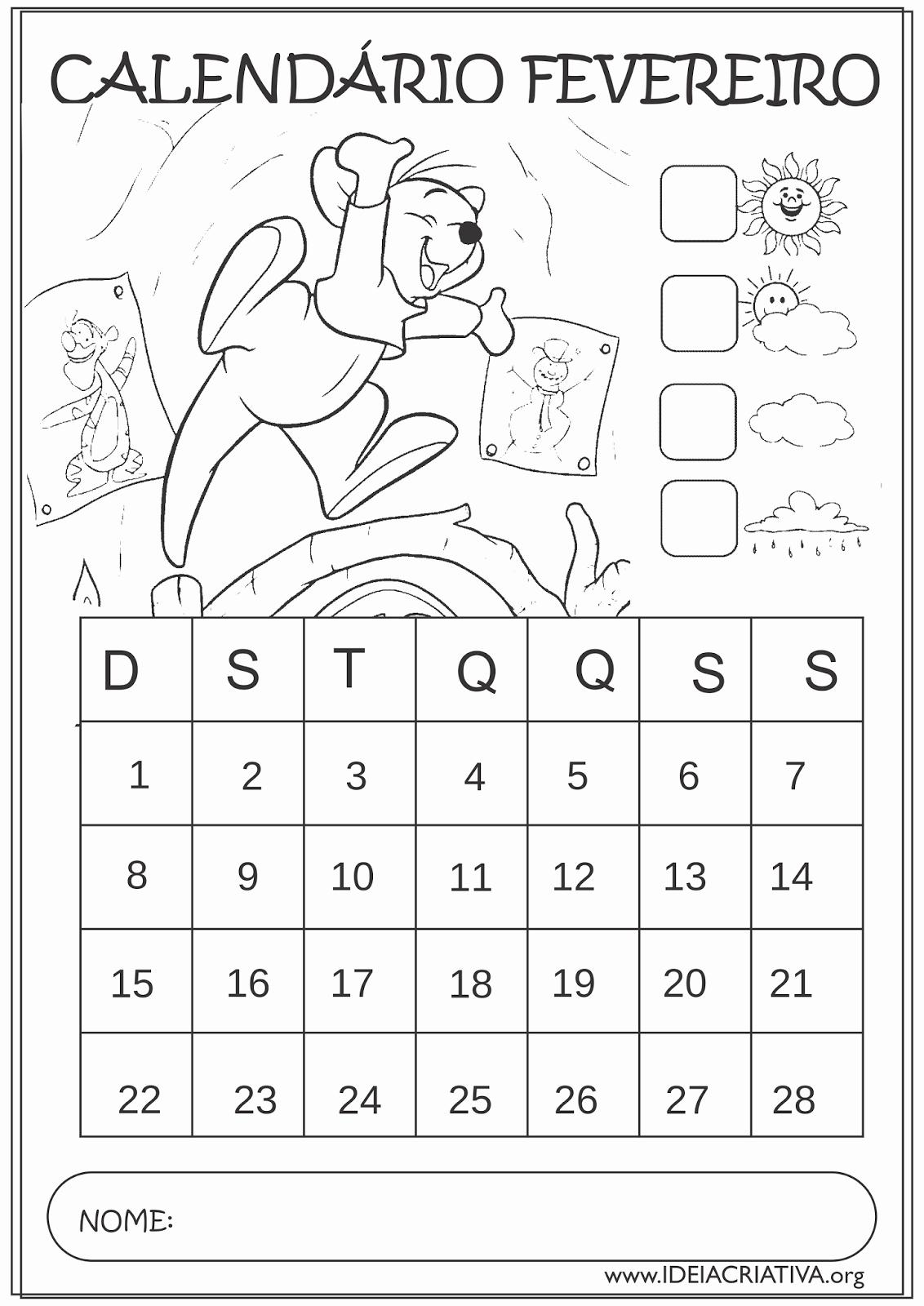 Calendario Diciembre 2017 Para Imprimir Unique Calendário Fevereiro 2015 Guru Turma Do Pooh Educação